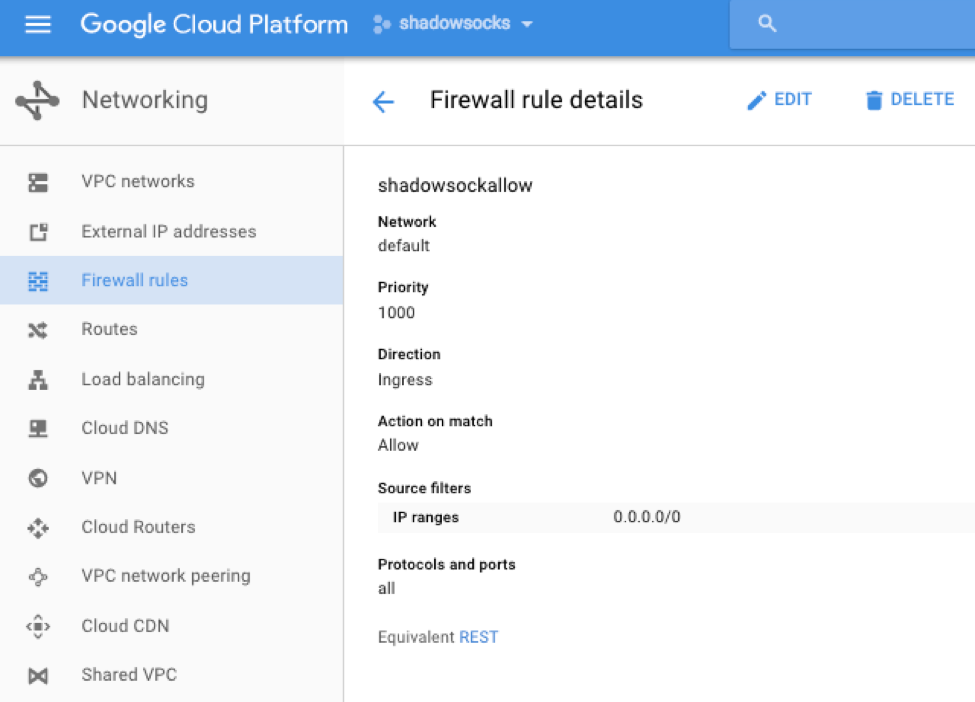 shadowsocks server using google cloud console